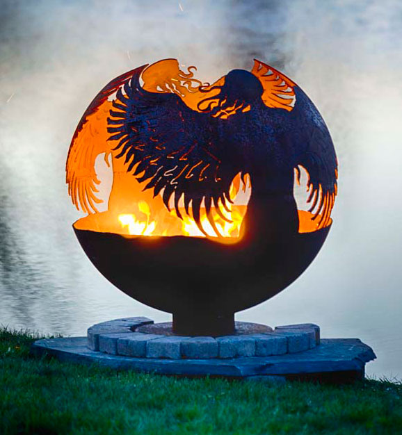 Hidden Guardian Angel Fire Pit Sphere The