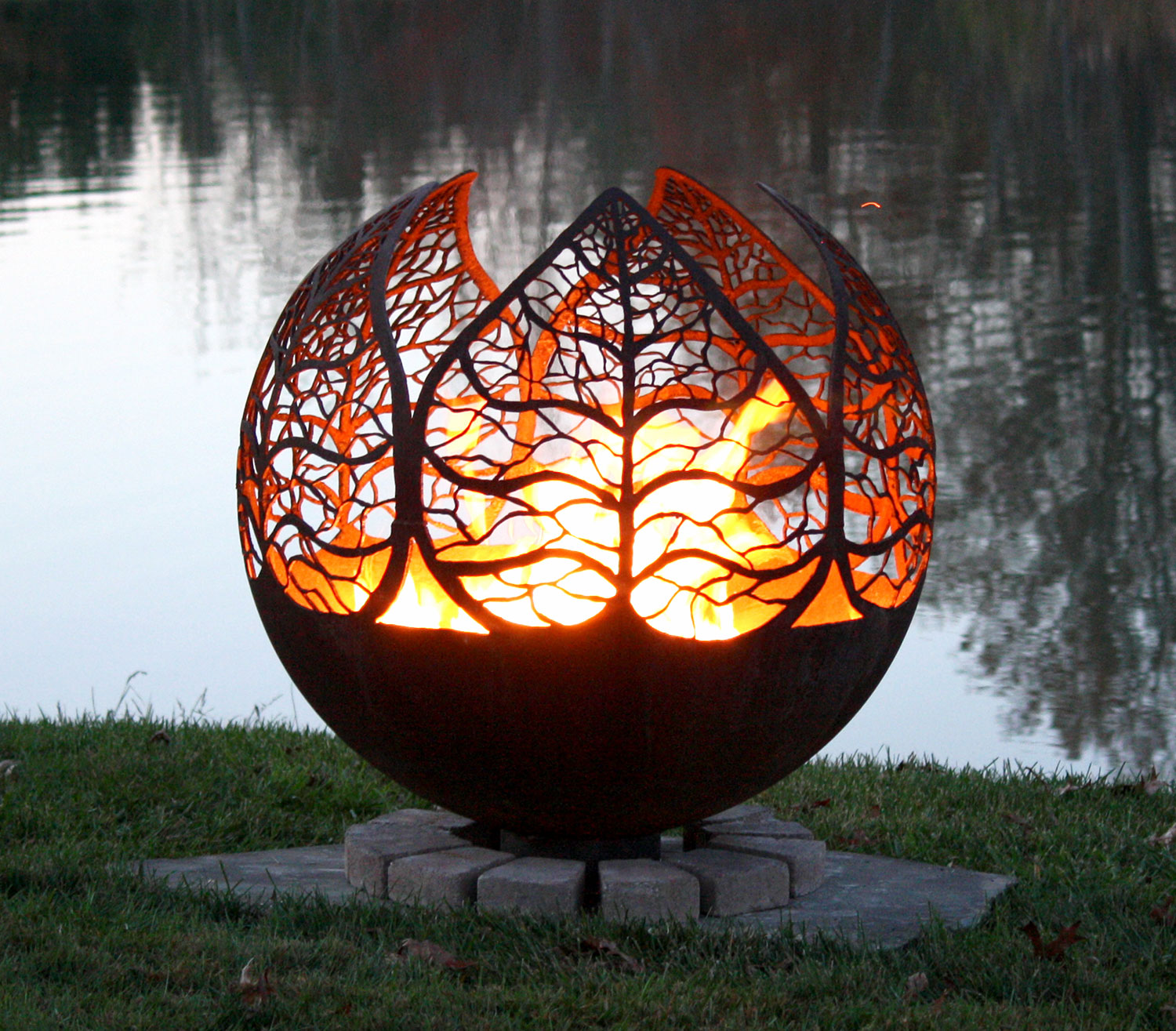 Autumn Sunset Leaf Fire Pit Sphere The Fire Pit Gallery