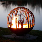 Winter Woods - Birch Tree fire pit sphere 37""