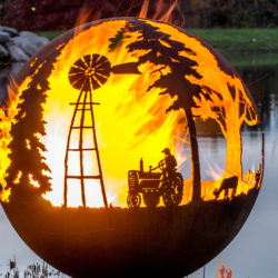 Appel Crisp Farms Fire Pit Sphere 01-Tractor-Windmill-The Fire Pit Gallery