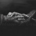 Woman in Hand - Outstretched - Charcoal Giclee by Melissa Crisp
